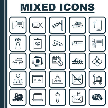 Set Of 25 Universal Editable Icons. Can Be Used For Web, Mobile And App Design. Includes Elements Such As Online Chatting, Shipping Tour, Bumblebee And More. Illustration