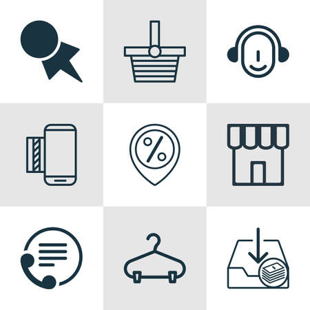 pager: Set Of 9 Ecommerce Icons. Includes Telephone, Shop, Peg And Other Symbols. Beautiful Design Elements.