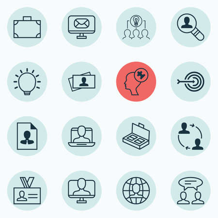 Set Of 16 Business Management Icons. Includes Email, Portfolio, Great Glimpse And Other Symbols. Beautiful Design Elements. Ilustração