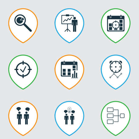 Set Of 9 Administration Icons. Includes Special Demonstration, Team Meeting, System Structure And Other Symbols. Beautiful Design Elements.