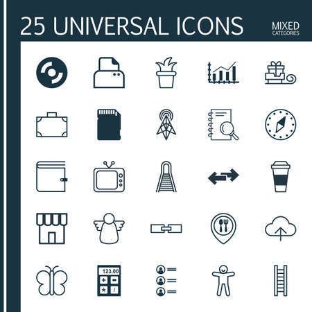 associative: Set Of 25 Universal Editable Icons. Can Be Used For Web, Mobile And App Design. Includes Elements Such As Bush Pot, Television, Moth And More.