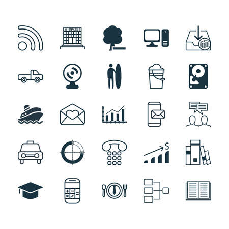 pager: Set Of 25 Universal Editable Icons. Can Be Used For Web, Mobile And App Design.