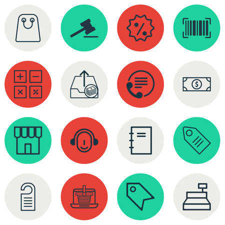 pager: Set Of 16 Ecommerce Icons. Includes Ticket, Till, Gavel And Other Symbols.