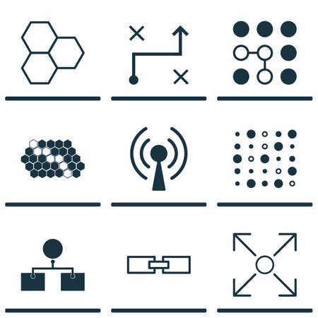 Set Of 9 Machine Learning Icons. Includes Hive Pattern, Analysis Diagram, Related Information And Other Symbols.