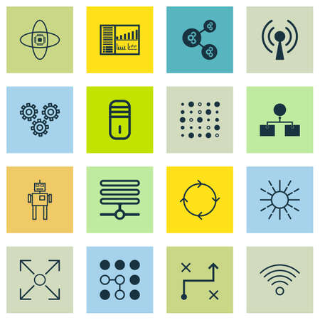 Set Of 16 Artificial Intelligence Icons. Includes Radio Waves, Information Base, Mainframe And Other Symbols.