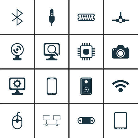 Set Of 16 Computer Hardware Icons. Includes Radio Set, Smartphone, Network Structure And Other Symbols.