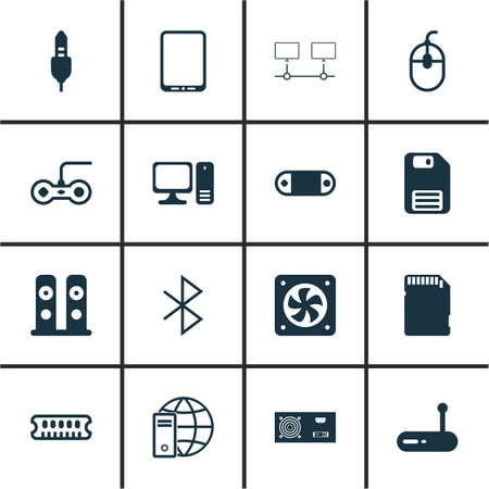 storage device: Set Of 16 Computer Hardware Icons. Includes Radio Set, Internet Network, Loudspeakers And Other Symbols. Beautiful Design Elements.