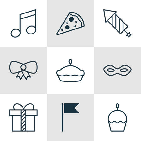 flan: Set Of 9 Christmas Icons. Includes Gift, Flag Point, Flan And Other Symbols. Beautiful Design Elements.