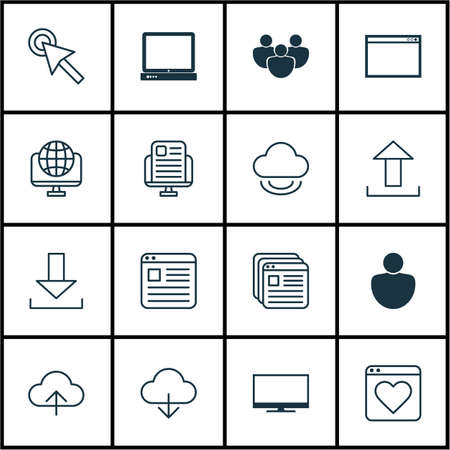 Set Of 16 Web Icons Includes Website Page Blog Page Account