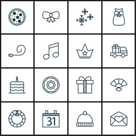 Set Of 16 Christmas Icons. Includes Lorry Birthday, Doughnut, Celebrate Whistle And Other Symbols. Beautiful Design Elements.