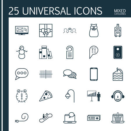 pager: Set Of 25 Universal Editable Icons. Can Be Used For Web, Mobile And App Design. Includes Elements Such As Smartphone, Present Pouch, Lamppost And More.