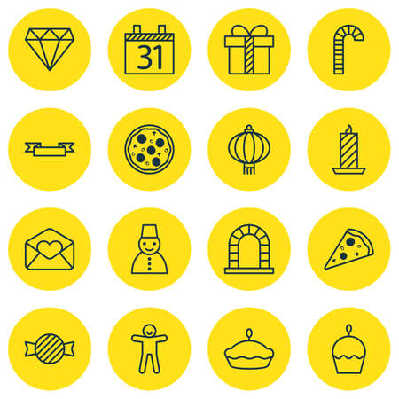 christmas cookie: Set Of 16 Happy New Year Icons. Includes Brilliant, Arch, Flan And Other Symbols. Beautiful Design Elements.