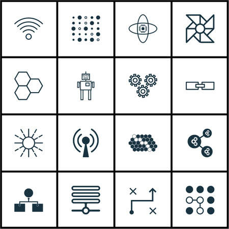 Set Of 16 Robotics Icons. Includes Atomic Cpu, Solution, Hive Pattern And Other Symbols. Beautiful Design Elements.