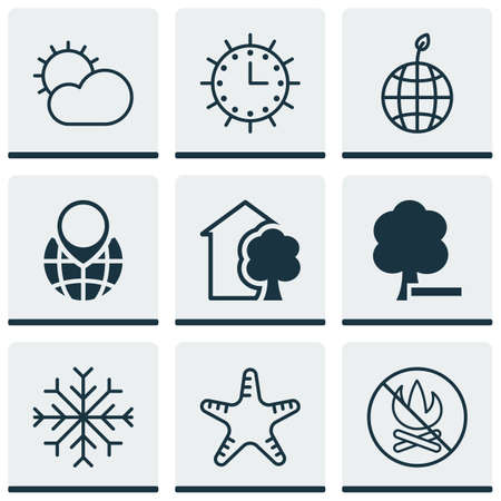clockwise: Set Of 9 Ecology Icons. Includes House, Clear Climate, Snow And Other Symbols. Beautiful Design Elements.