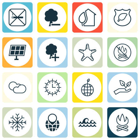greenness: Set Of 16 Eco-Friendly Icons. Includes Delete Woods, Pin Earth, Sea Star And Other Symbols. Beautiful Design Elements.