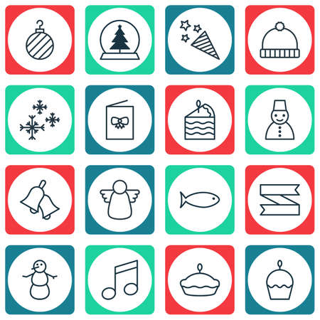 flan: Set Of 16 Christmas Icons. Includes Flan, Birthday Cake, Winter And Other Symbols. Beautiful Design Elements. Illustration