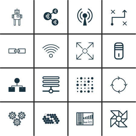 Set Of 16 Machine Learning Icons. Includes Branching Program, Hive Pattern, Laptop Ventilator And Other Symbols. Beautiful Design Elements.
