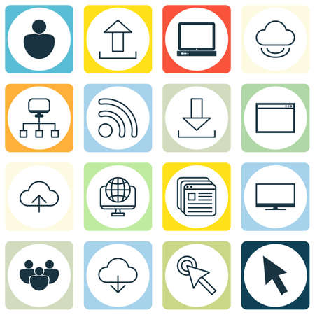 Set Of 16 Web Icons. Includes Local Connection, Send Data, Human And Other Symbols. Beautiful Design Elements.