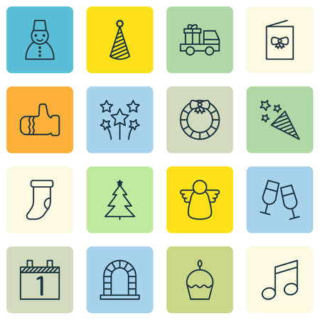 crotchets: Set Of 16 Celebration Icons. Includes Birthday Cake, Crotchets, Champagne Glasses And Other Symbols. Beautiful Design Elements.