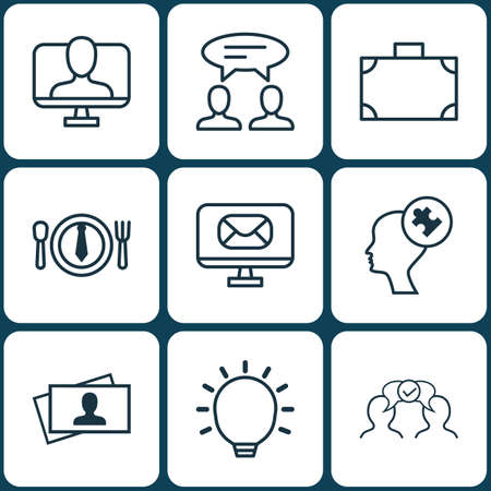 Set Of 9 Business Management Icons. Includes Dialogue, Online Identity, Great Glimpse And Other Symbols. Beautiful Design Elements.