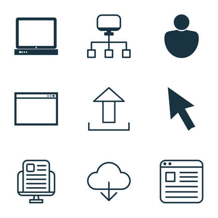 wap: Set Of 9 Online Connection Icons. Includes Blog Page, Local Connection, Human And Other Symbols. Beautiful Design Elements.