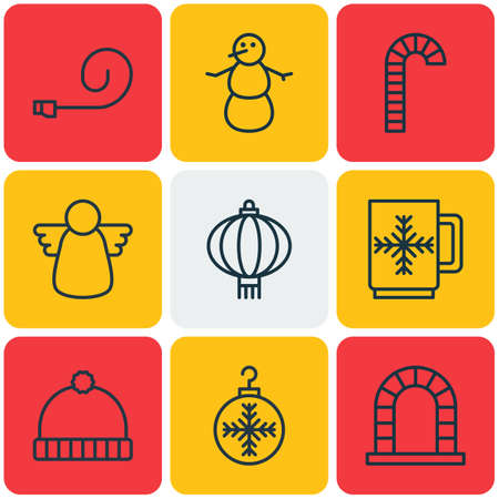 Foto de archivo - Set de 9 iconos de vacaciones. Incluye arcángel c75e00d0e90