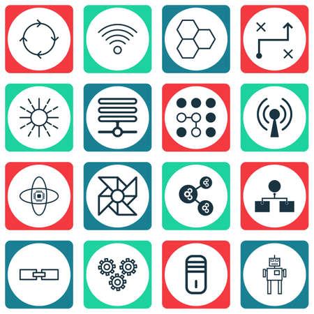 microprocessor: Set Of 16 Robotics Icons. Includes Laptop Ventilator, Mechanism Parts, Algorithm Illustration And Other Symbols. Beautiful Design Elements.