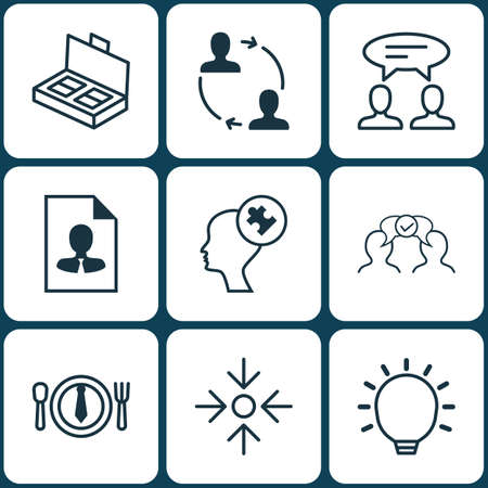Set Of 9 Business Management Icons. Includes Document Suitcase, Cooperation, Great Glimpse And Other Symbols. Beautiful Design Elements.