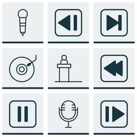 parallel: Set Of 9 Multimedia Icons. Includes Mike, Last Song, Mute Song And Other Symbols. Beautiful Design Elements.