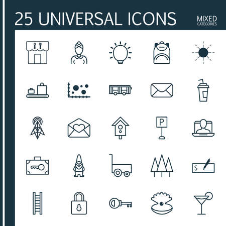 rung: Set Of 25 Universal Editable Icons. Can Be Used For Web, Mobile And App Design. Includes Elements Such As Safeguard, Sun, Wireless Router And More. Illustration