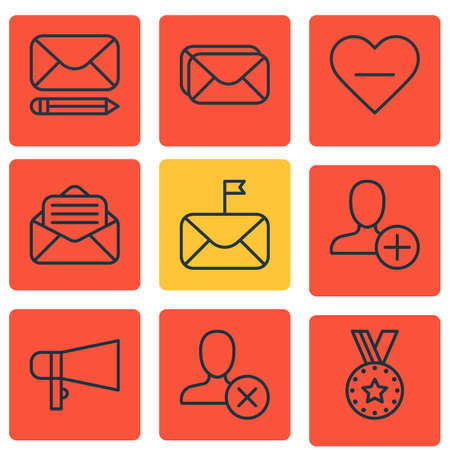 proclaim: Set Of 9 Social Network Icons. Includes Read Message, Significant Letter, Medal And Other Symbols. Beautiful Design Elements.