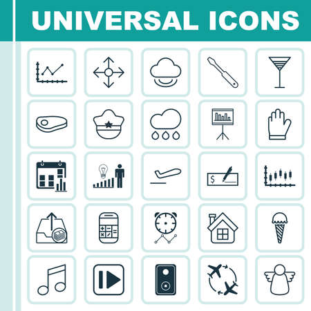Set Of 25 Universal Editable Icons. Can Be Used For Web, Mobile And App Design. Includes Elements Such As Audio Device, Frozen Food, Protection Mitt And More.