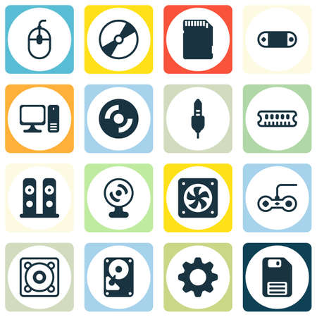 Set Of 16 Computer Hardware Icons. Includes Computer Ventilation, Memory Card, Radio Set And Other Symbols. Beautiful Design Elements. Illustration