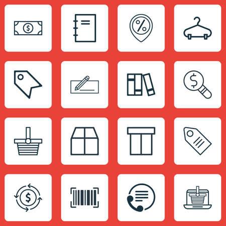 Set van 16 Commerce pictogrammen. Bevat peg-, geldoverdracht-, financiën- en andere symbolen. Mooie designelementen. Stock Illustratie