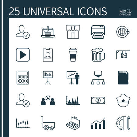 provision: Set Of 25 Universal Editable Icons. Can Be Used For Web, Mobile And App Design. Includes Elements Such As Ornament Watch, Printed Document, Pilot Hat And More. Illustration