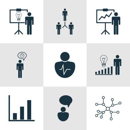 Set Of 9 Management Icons. Includes Special Demonstration, Decision Making, Conversation And Other Symbols. Beautiful Design Elements. Illustration