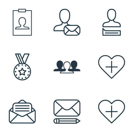 remuneration: Set Of 9 Communication Icons. Includes Chatting Person, Read Message, Edit Mail And Other Symbols. Beautiful Design Elements. Illustration