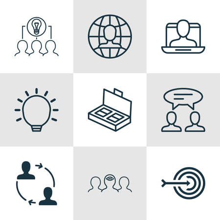 Set Of 9 Business Management Icons. Includes Cooperation, Arrow, Social Profile And Other Symbols. Beautiful Design Elements.