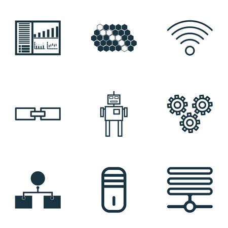 robotic transmission: Set Of 9 Machine Learning Icons. Includes Related Information, Analysis Diagram, Mainframe And Other Symbols. Beautiful Design Elements. Illustration