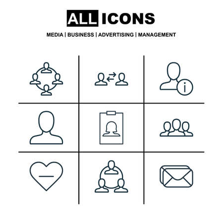 Set Of 9 Social Icons. Includes Teamwork, Unfollow Icon, Web Profile And Other Symbols. Beautiful Design Elements. Illustration