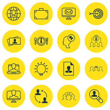 collaborative: Set Of 16 Business Management Icons. Includes Arrow, Social Profile, Open Vacancy And Other Symbols. Beautiful Design Elements.