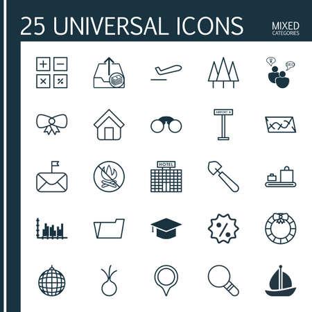 25 ユニバーサル編集可能なアイコンのセットです。Web、モバイル、アプリの設計に使用できます。グラフ コレクション、ダンスクラブ、飛行機情報