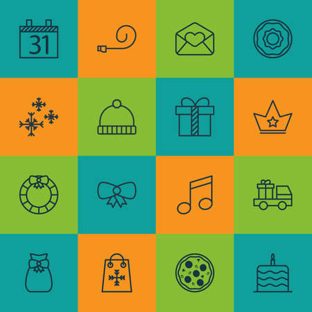 crotchets: Set Of 16 New Year Icons. Includes Crotchets, Gift, Butterfly Knot And Other Symbols. Beautiful Design Elements.