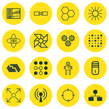 robotic transmission: Set Of 16 Robotics Icons. Includes Related Information, Variable Architecture, Radio Waves And Other Symbols. Beautiful Design Elements.