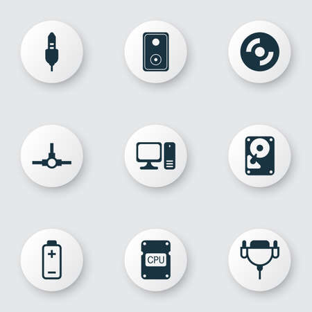 Set Of 9 Computer Hardware Icons. Includes Aux Cord, Battery, Hdd And Other Symbols. Beautiful Design Elements.
