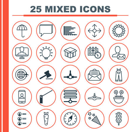 Set Of 25 Universal Editable Icons. Can Be Used For Web, Mobile And App Design. Includes Elements Such As Job Applicants, Great Glimpse, Bars Chart And More.