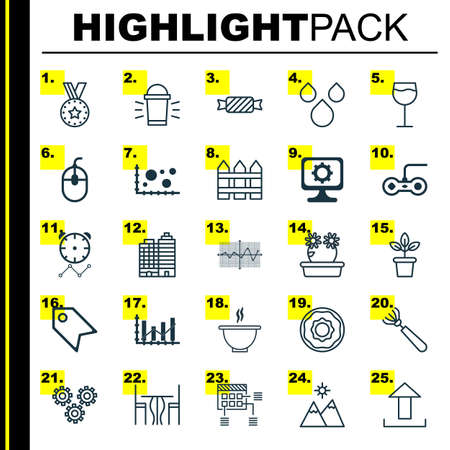 Set Of 25 Universal Editable Icons. Can Be Used For Web, Mobile And App Design. Includes Elements Such As Harrow, Bowl, Landscape. Illustration