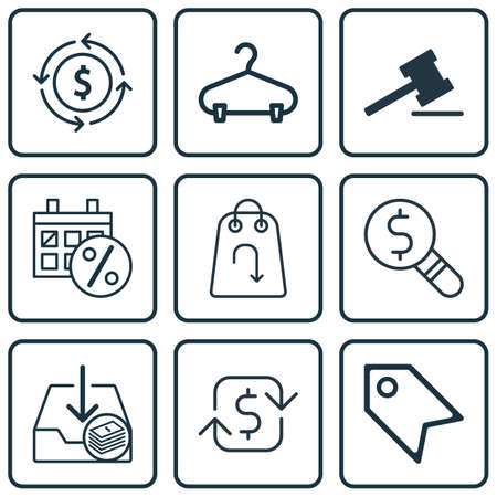 Set Of 9 Commerce Icons. Includes Withdraw Money, Finance, Gavel And Other Symbols. Beautiful Design Elements.