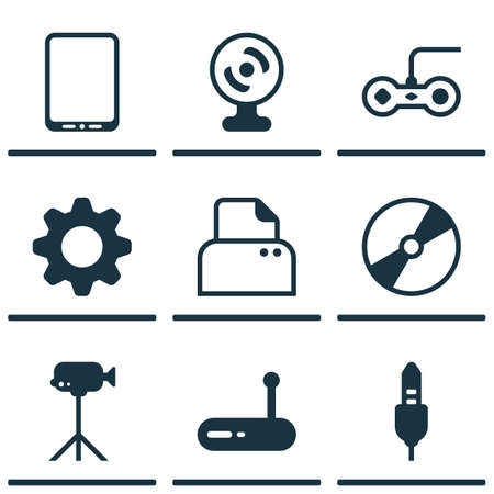 Set Of 9 Computer Hardware Icons. Includes Cd-Rom, Router, Joystick And Other Symbols. Beautiful Design Elements.