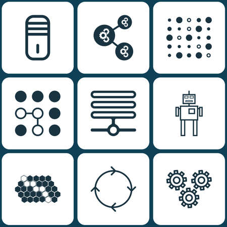 Set Of 9 Artificial Intelligence Icons. Includes Mainframe, Variable Architecture, Information Base And Other Symbols. Beautiful Design Elements.